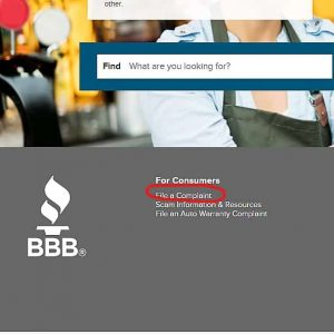Complain About a Business with the bbb